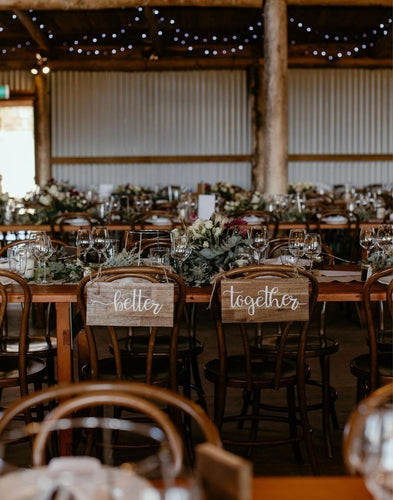 Rustic wedding chair signs that say better together. Design your wedding chairs on a budget.