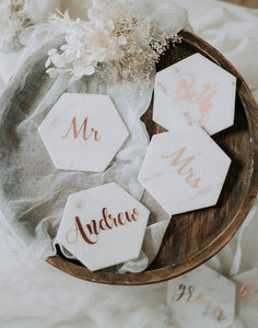 Wedding favours handmade marble signs perfect for name places, drink coasters and