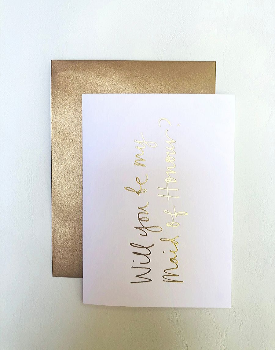 'Will You Be My Maid of Honour' Gift Card and Envelope
