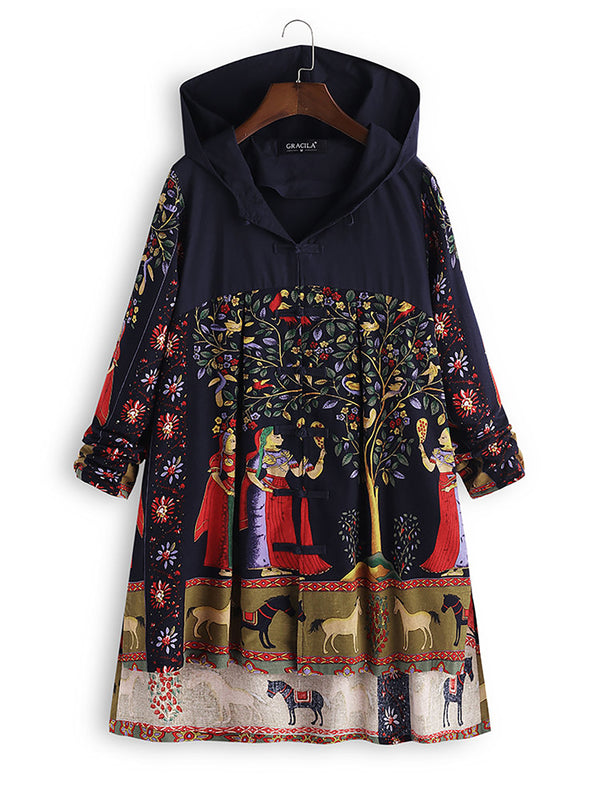 Womens Folk Style Print Hooded Irregular Frog Button Vintage Coats