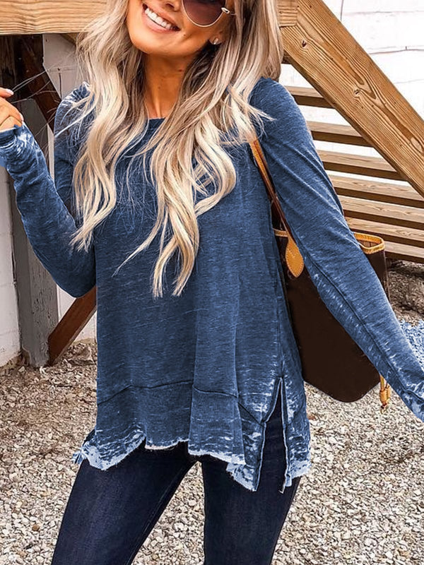Casual Plus Size Crew Neck Long Sleeve Tops