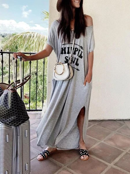 Alphabetic short sleeve T-shirt dress