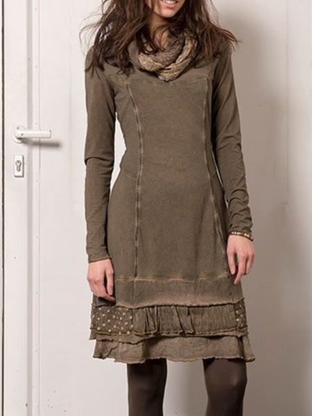 Long Sleeve Cotton-Blend Dresses