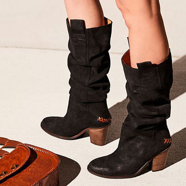 Womens Plus Size Low Heel Fall Boots