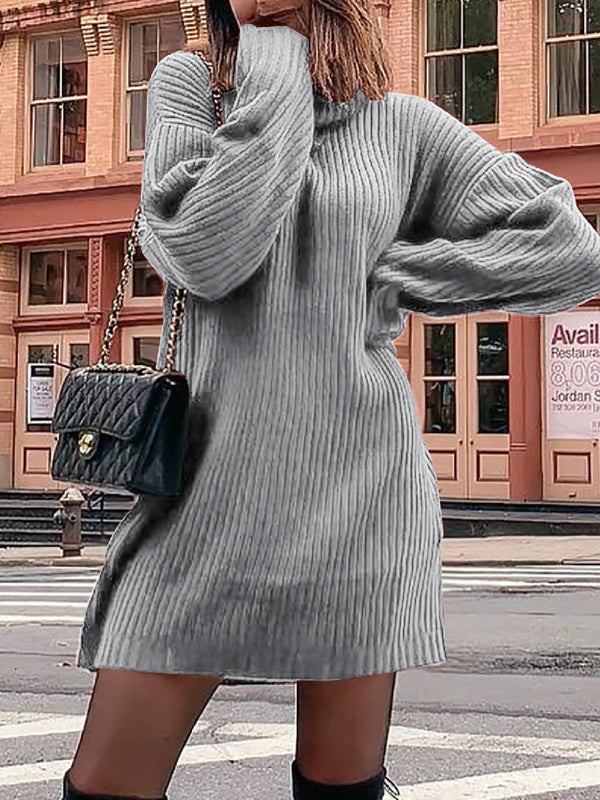 Casual Plus Size  Cowl Neck Long Sleeve Knitting Dresses