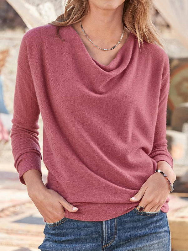 Casual Plus Size Tops Tunic Cowl Neck Sweater