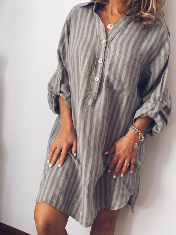 Plus Size Women Casual Printed Striped Dress