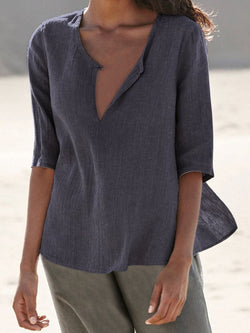 Casual Half Sleeve Solid Linen Women Shirts & Tops