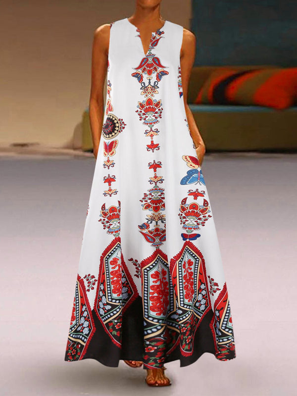 V Neck Women Printed Maxi Dresses