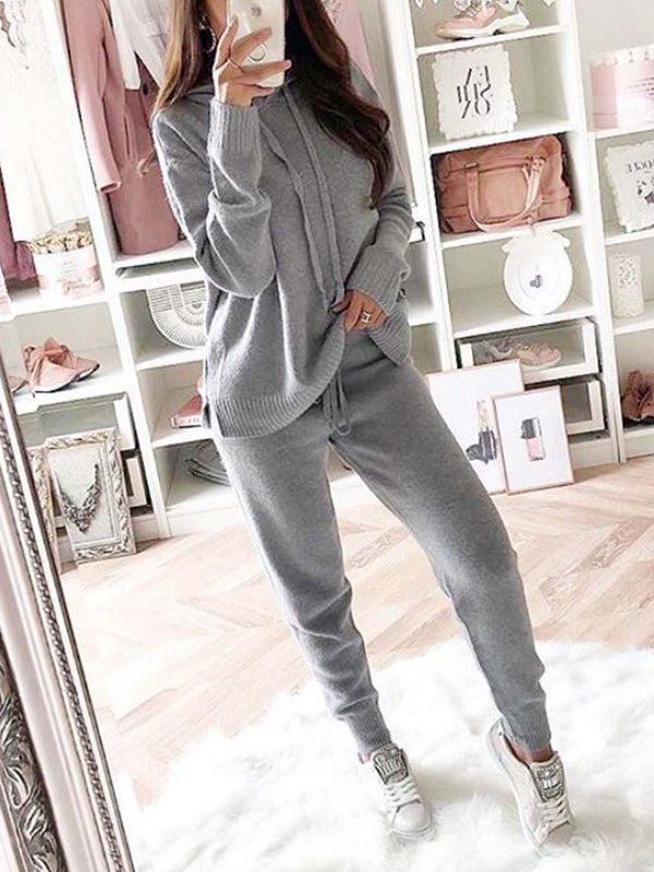 Knitted Plain Two Piece Casual Women Suits