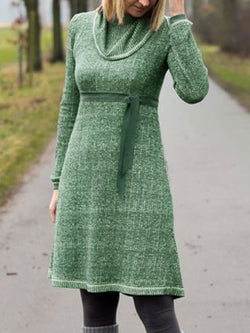 Cowl Neck Casual Cotton-Blend Dresses