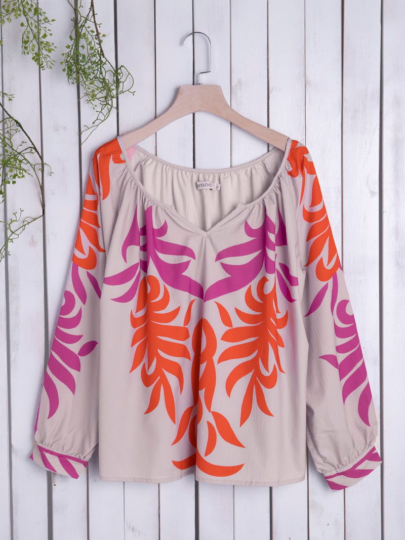 Boho Floral Cotton Long Sleeve Top