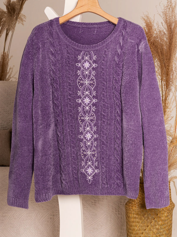 Purple Casual Sweater