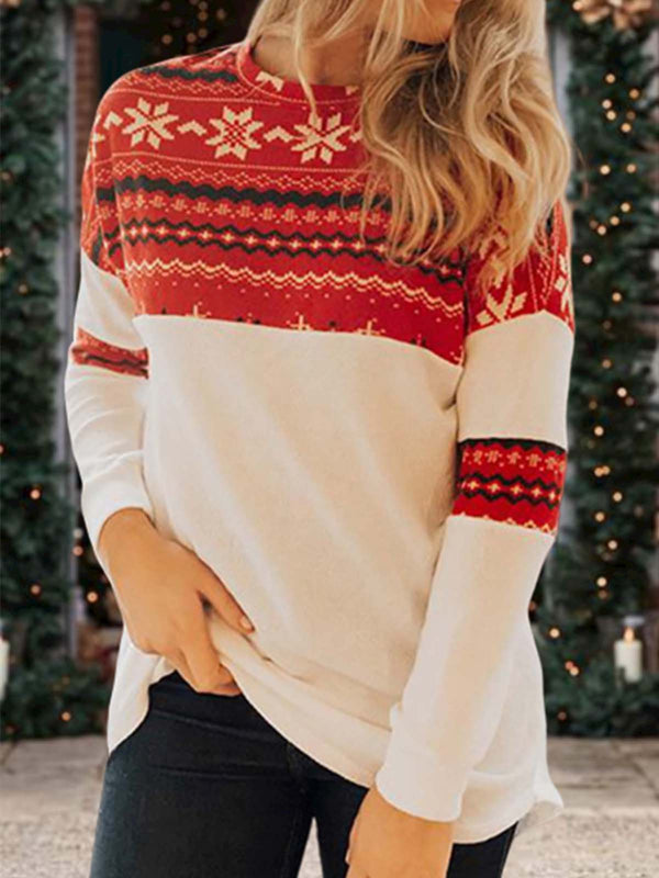 Floral-Print Holiday Long Sleeve Crew Neck Sweatshirt