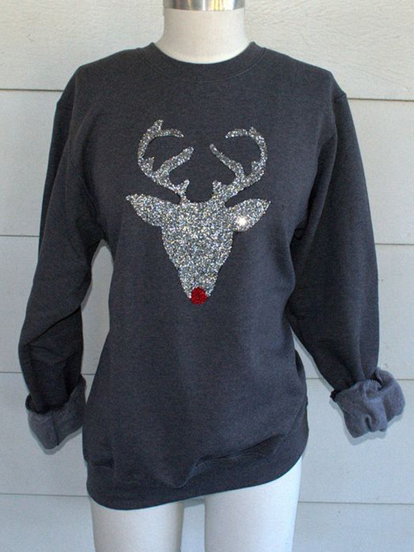 Christmas Long Sleeve Knit Round Neck Sweatshirt