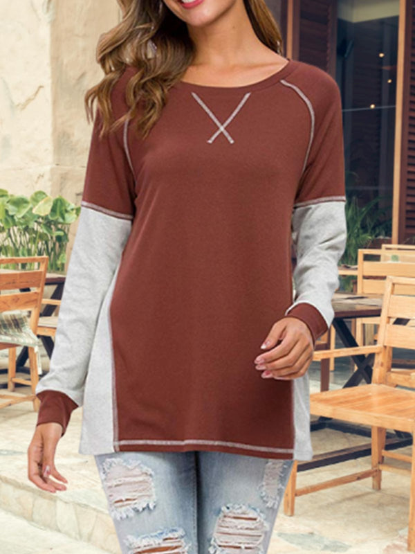 Paneled Long Sleeve Casual T-Shirts