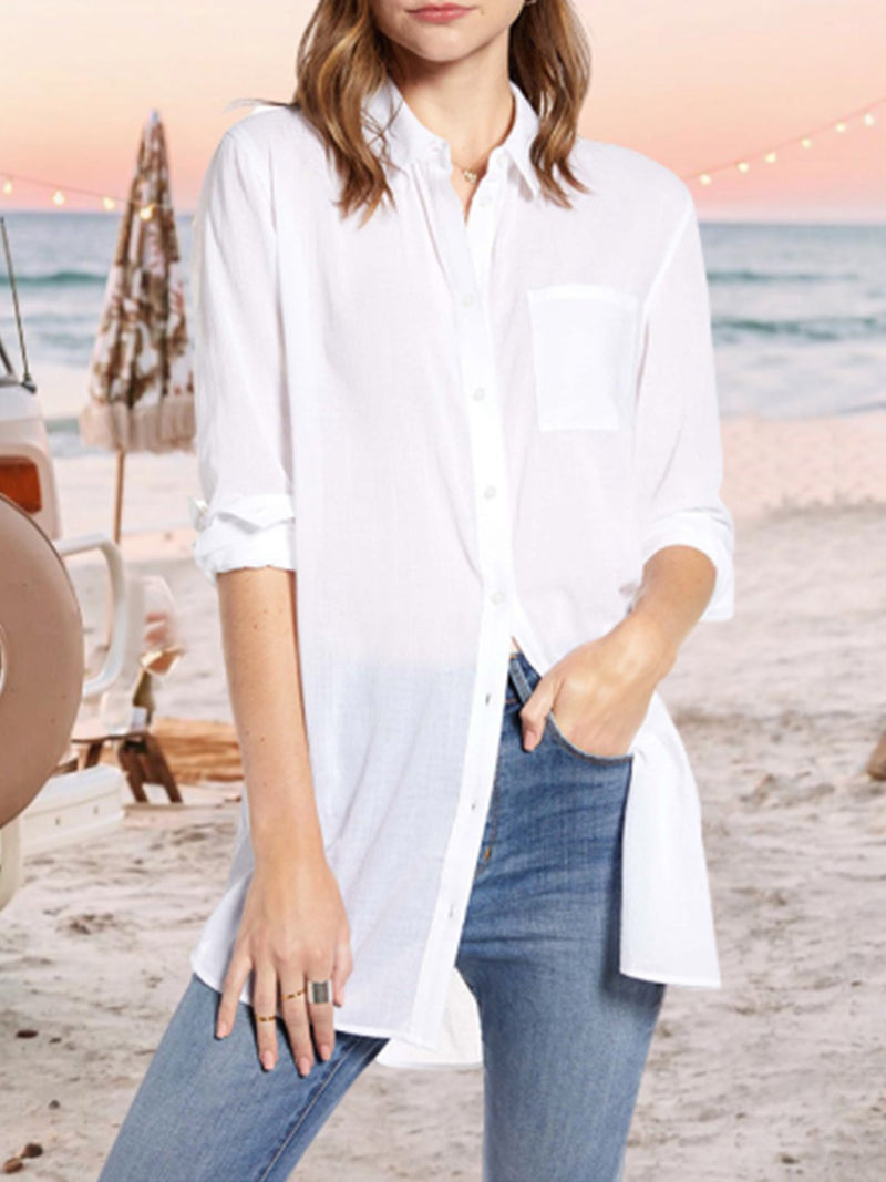 Shirt Collar Casual Plain Blouses