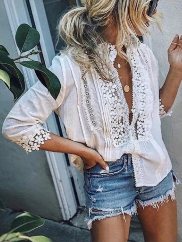 Casual Plunging Neck Guipure Lace Floral T-Shirt