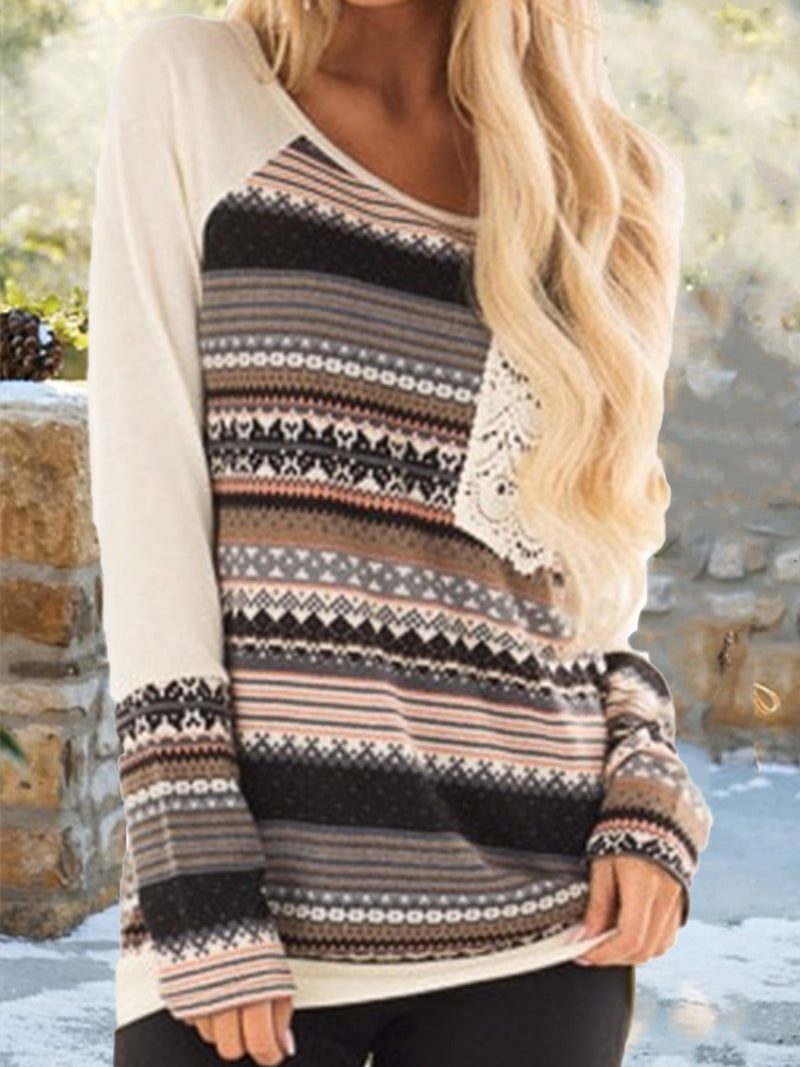Tribal Printed Casual Pockets Long Sleeve T-shirt