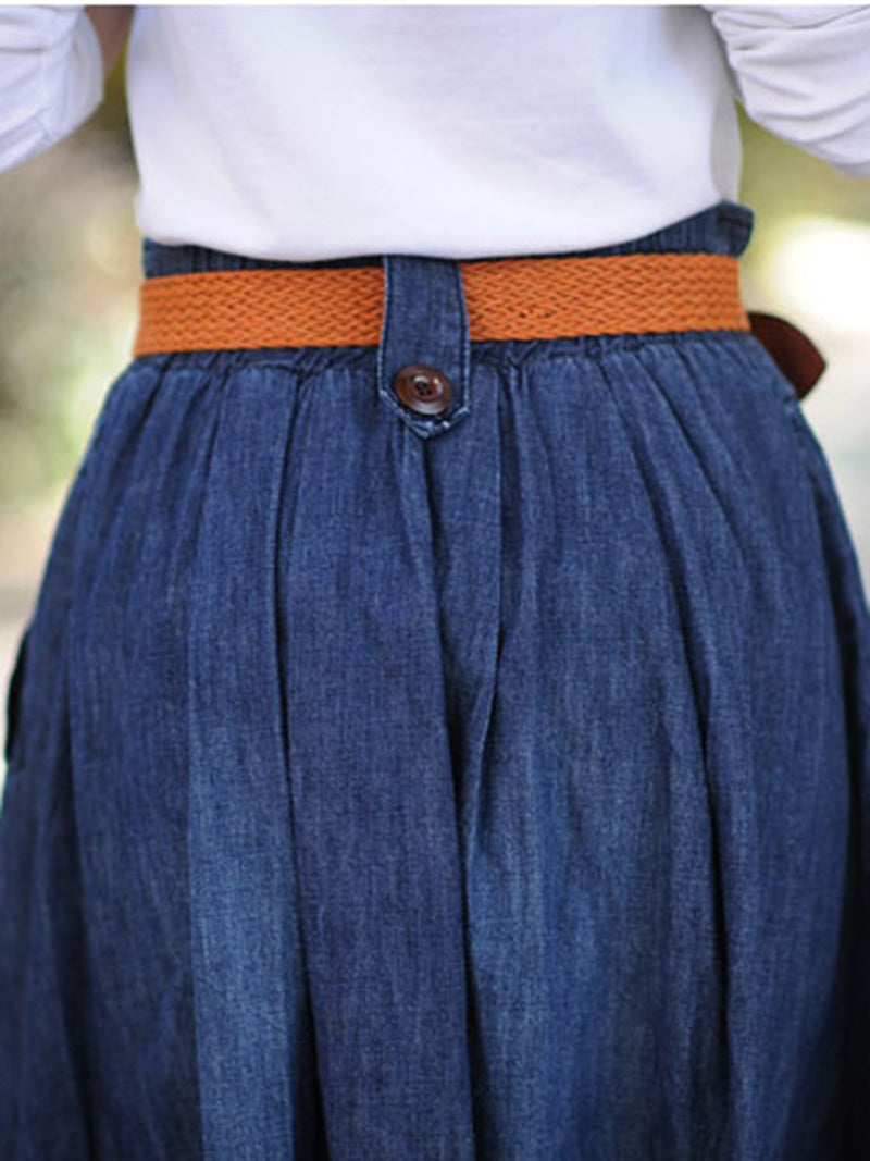 Dark Blue Casual Denim Pockets Gathered Plain Plus Size Skirt