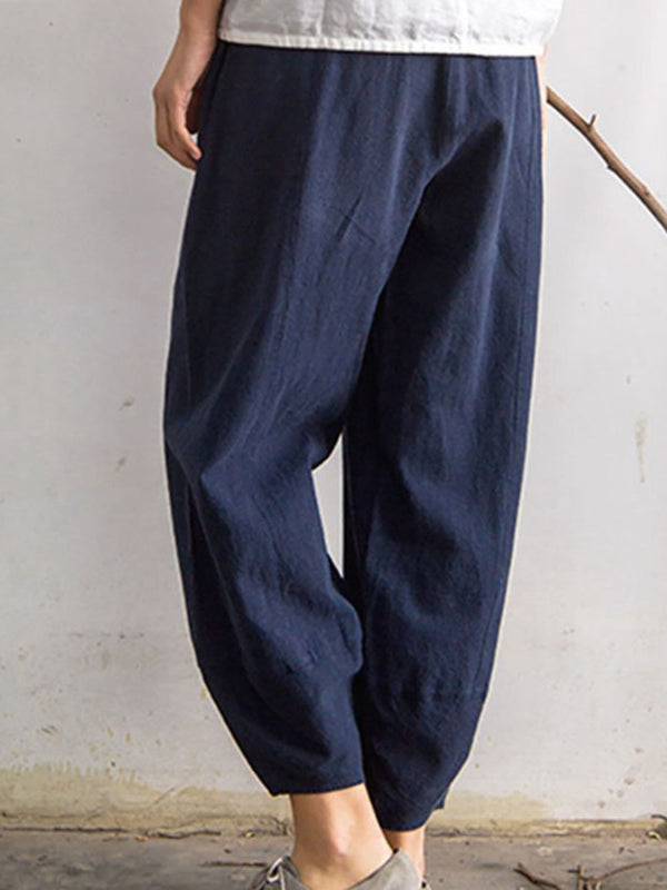 Pockets Casual Solid Pants