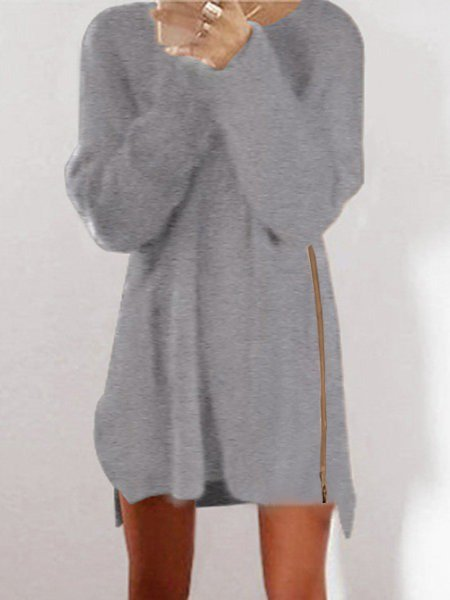 Gray Casual Acrylic Crew Neck Sweater