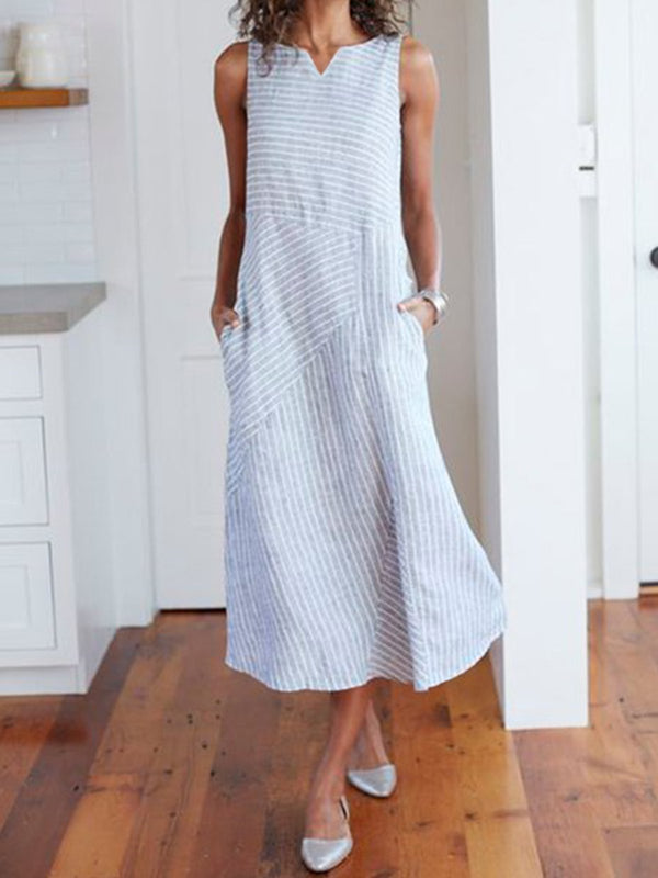V Neck Light Blue Women Dresses Holiday Stripes Dress
