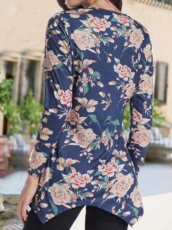 Floral Printed Asymmetric Vintage Long Sleeve T-shirt