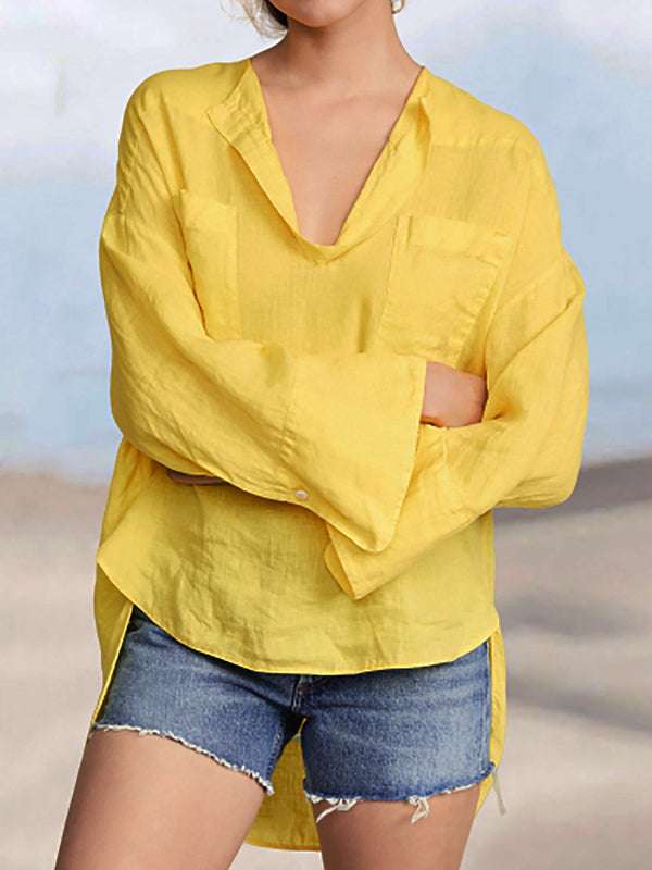 Women V Neck High Low Hem Shirts