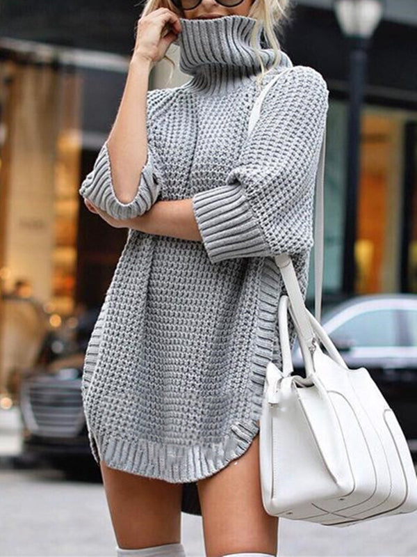 Casual Knitted  3/4 Sleeve Turtleneck Plus Size Sweater