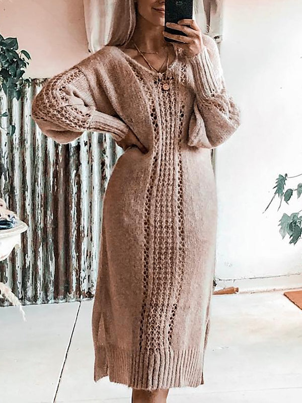 Crochet Crew Neck Knitted Sweater Dresses