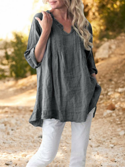 V Neck Shift Casual Tops