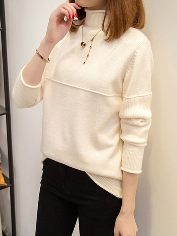 Casual Knitted Solid Knitwear