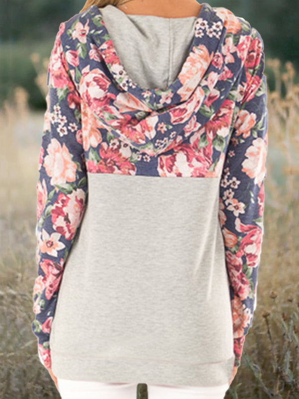 Vintage Floral Printed Drawstring Long Sleeve Hoodies