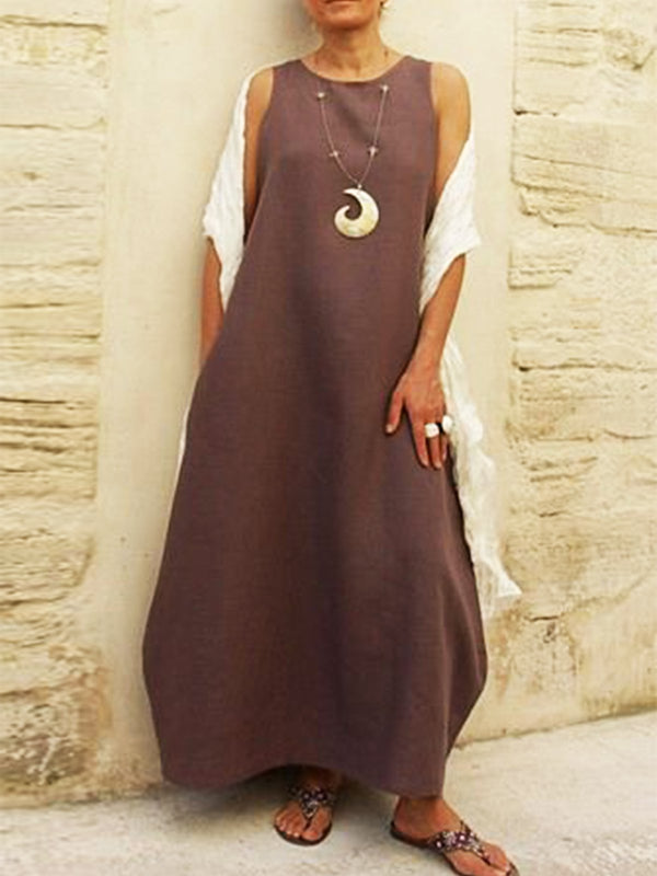 Summer Solid Crew Neck Casual Maxi Dresses