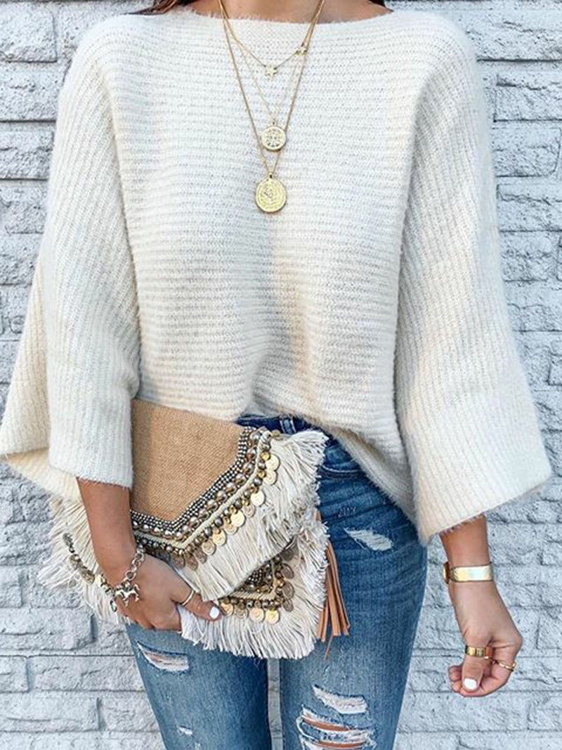 Crew Neck Plain Sweater