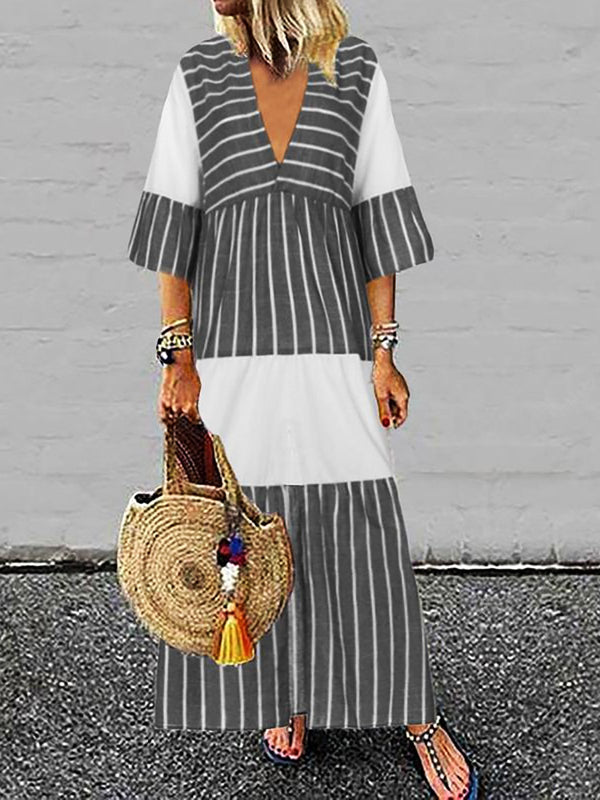 Boho V Neck Striped Holiday Maxi Dresses