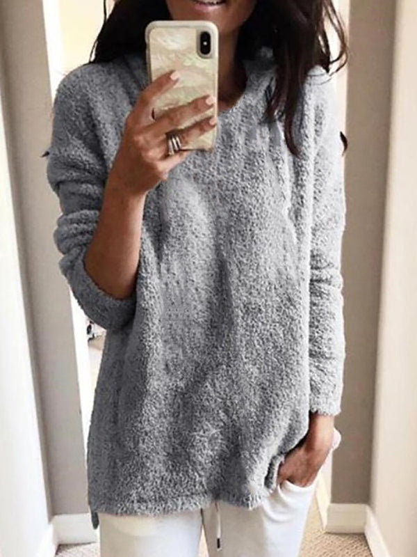 Fluffy Teddy Warm Sweatshirt Plus Size Long Sleeve Tops
