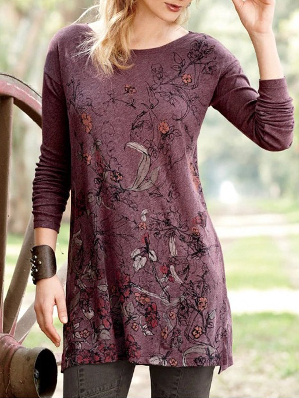 Floral Printed Crew Neck Long Sleeve Casual Shirt