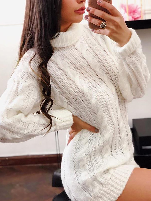 Knitted Turtleneck Sweater Plus Size Pullover