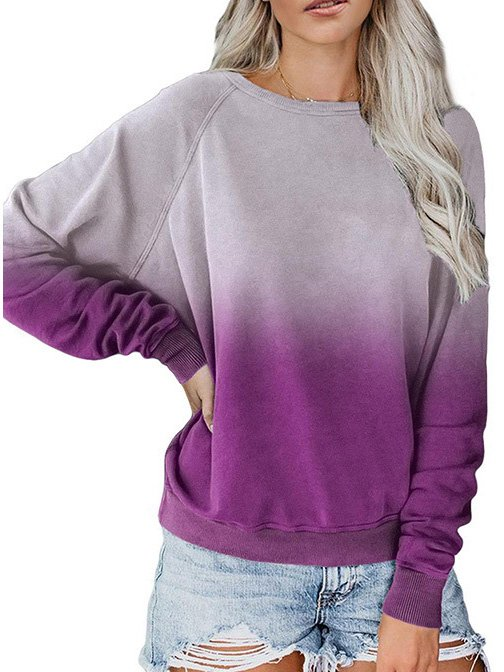 Long Sleeve Cotton Casual Ombre/tie-Dye Tops
