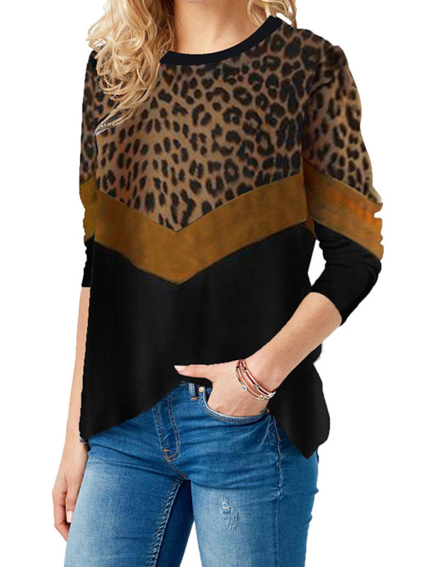 Leopard Long Sleeve Cotton-Blend Shirts & Tops