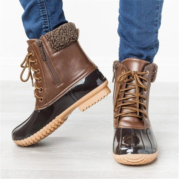 Women Casual Daily Lace Up Duck Boots