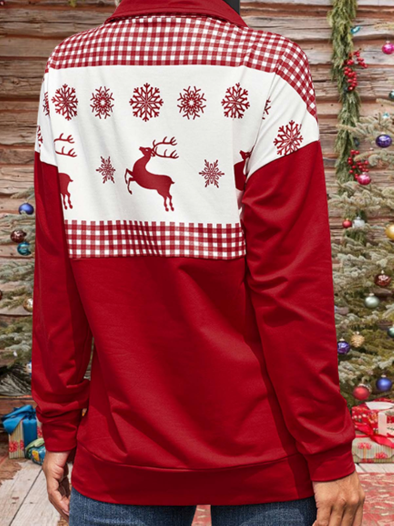 Chritsmas Printed Stand Collar Casual Sweatshirt