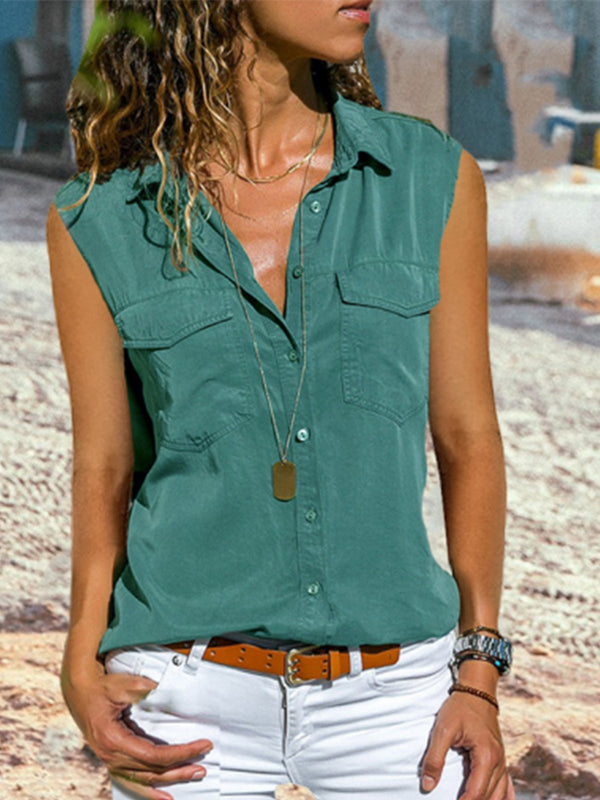 Casual Plain Turn-down Collar Buttoned Vest
