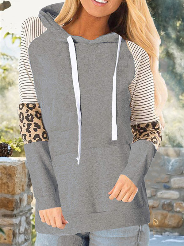 Color-Block Casual Drawstring Long Sleeve Hoodies