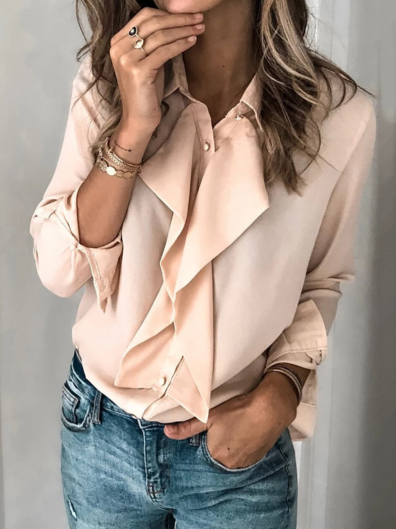 Ruffled Solid Long Sleeve Blouse