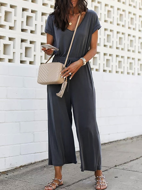 Casual Short Sleeve Cotton Pockets Jumpsuits