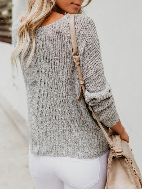 Long Sleeve Buttoned Solid Crew Neck Sweater
