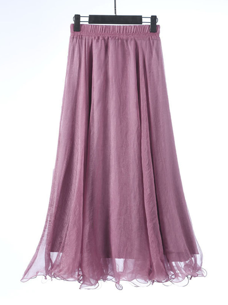 Polyester Plain Simple Gathered Skirt